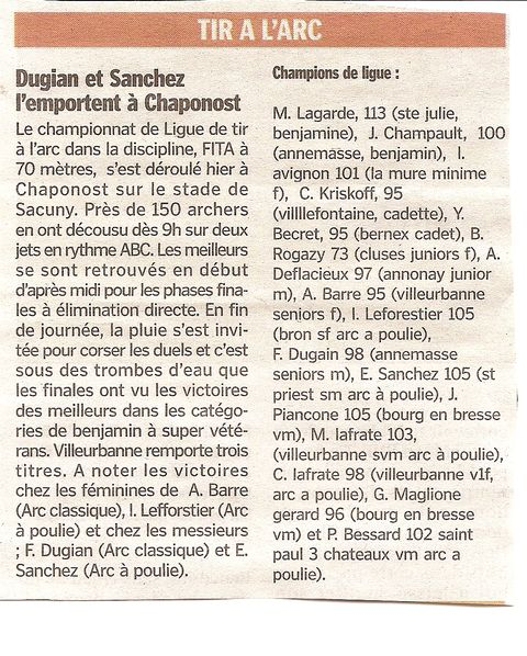 07-06-2010 Le - Progres - Championnats de Ligue FITA