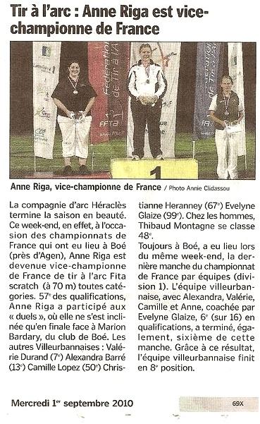 01-09-2010 Le Progres - D1 Championnat de France scratch D1