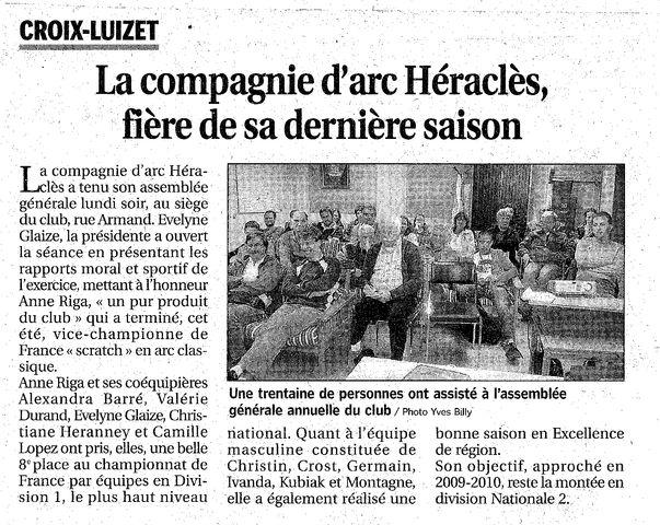 15-10-2010 Le Progres - Assemblée générale