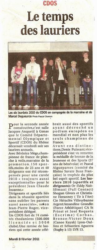 08-02-2011 Le Progres - Lauriers cdos