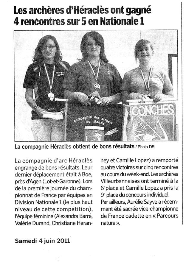 04-06-2011 Le Progres - Aurélie SAYVE Vice Championne de France de Tir Nature