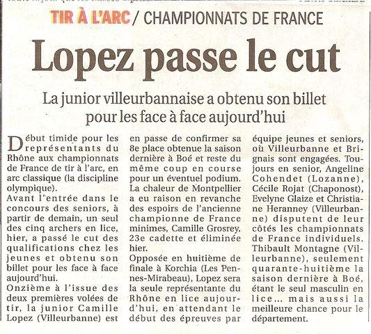 26-08-2011 Le Progres - D1 Championnat de France Jeunes