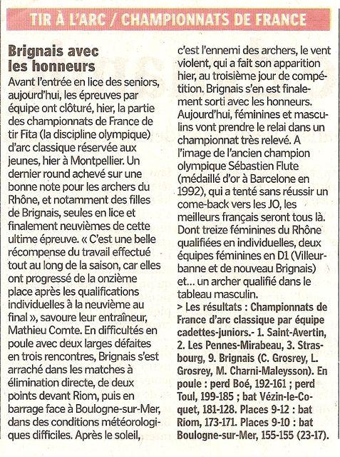 27-08-2011 Le Progres - D1 Championnat de France