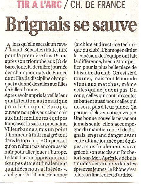 29-08-2011 Le Progres - D1 Championnat de France