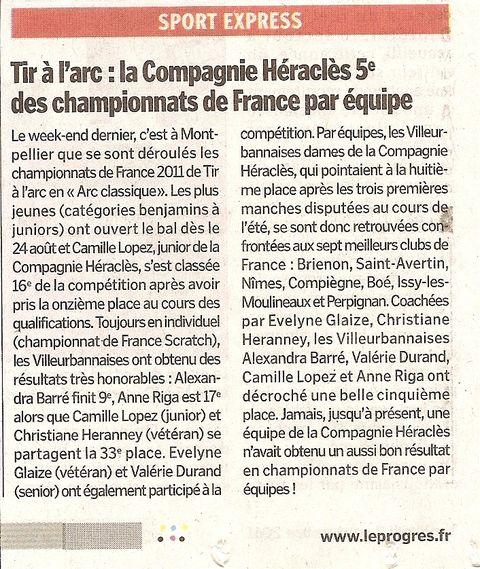02-09-2011 Le Progres - D1 Championnat de France